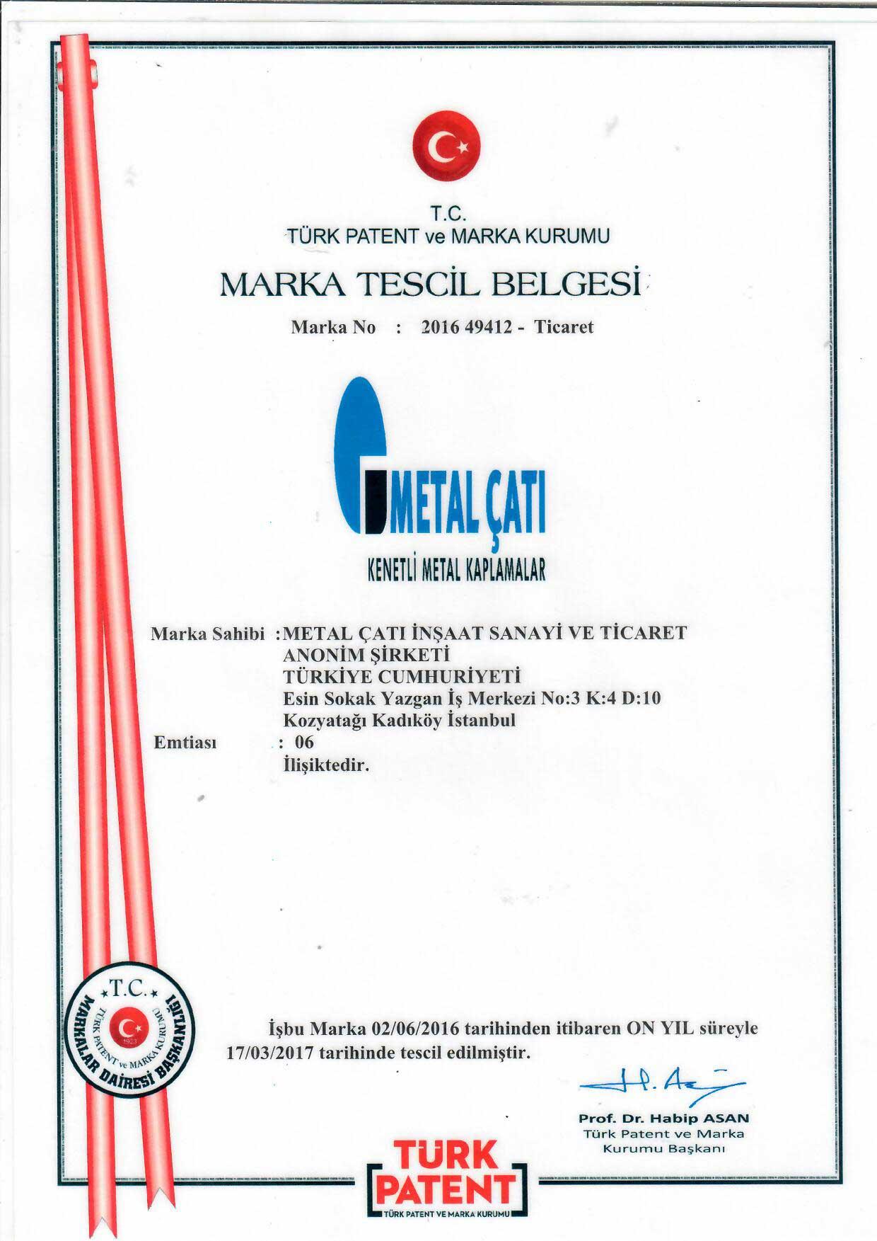 Metal Çatı - Marka Tescili