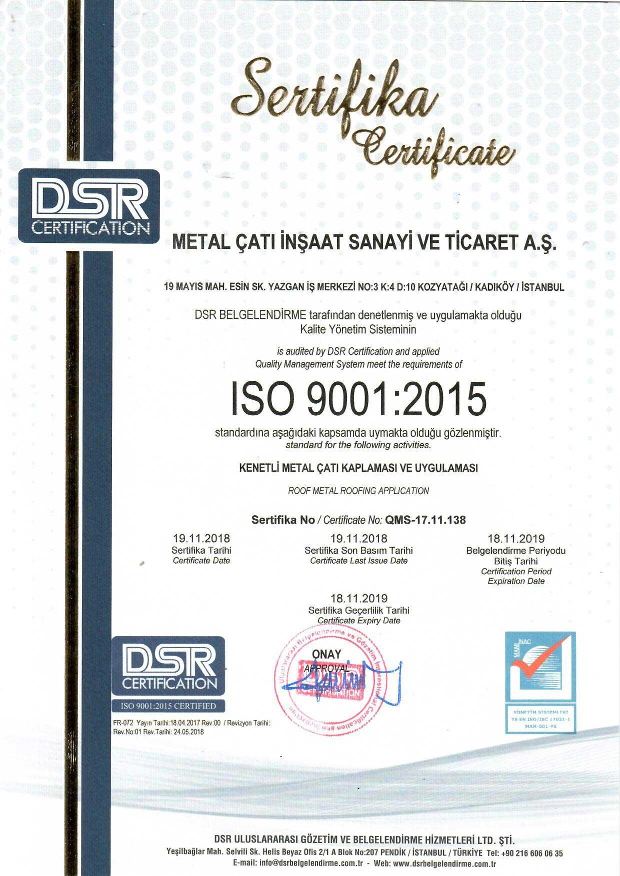 Metal Çatı - ISO 9001