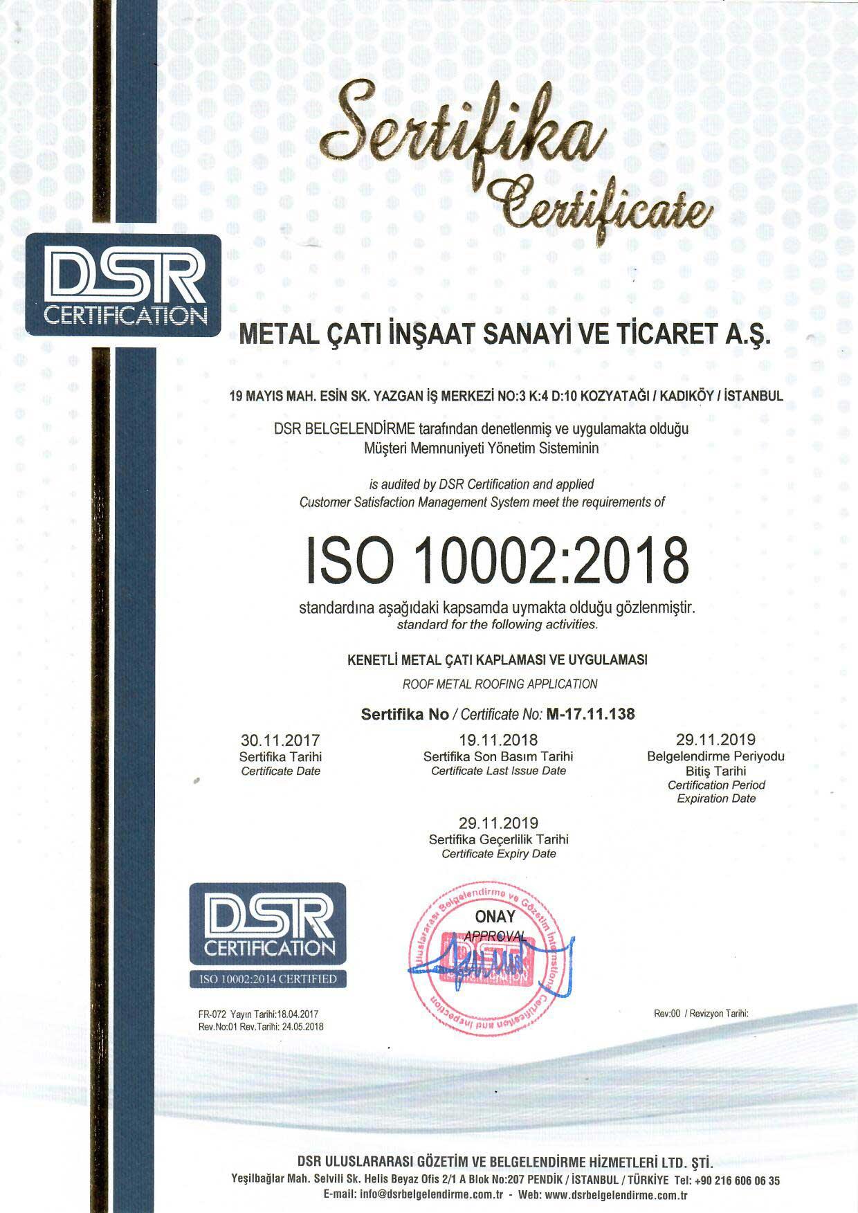Metal Çatı - ISO 10002:2018