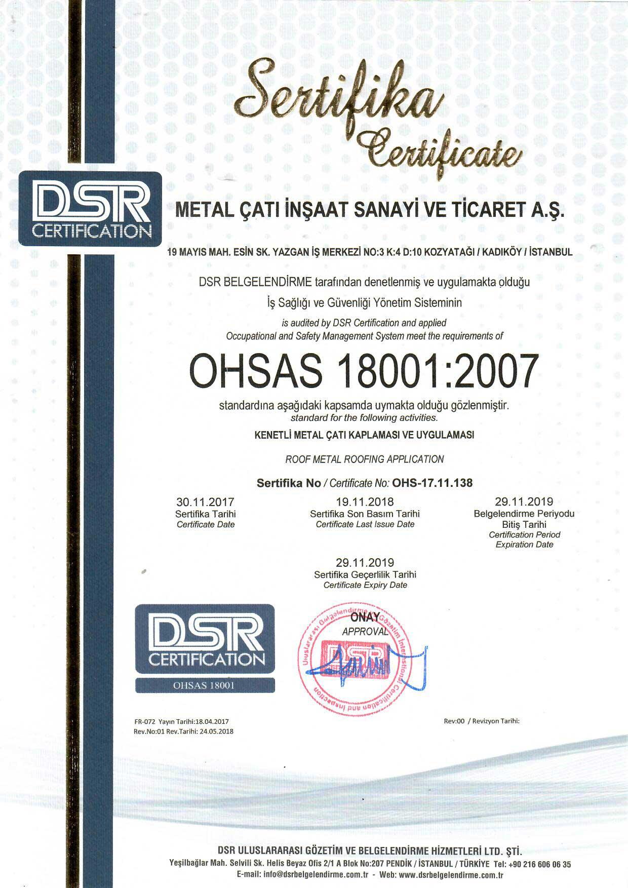 Metal Çatı - OHSAS 18001:2007